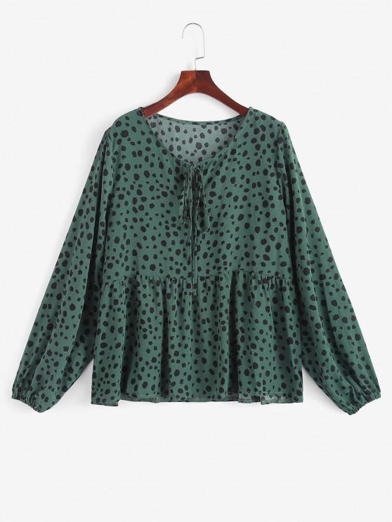 outfit Tie Collar Spotted Print Blouse - DEEP GREEN S