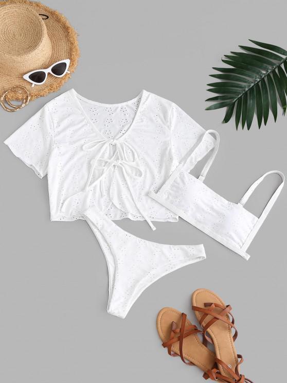 ZAFUL Broderie Anglaise Self-tie Three Piece Bikini Swimsuit - أبيض S