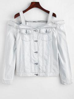 Bleached Open Shoulder Denim Jacket - Water M