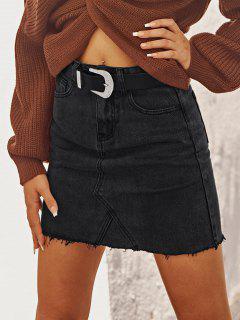 Raw Hem Fitted Mini Denim Skirt - Black S
