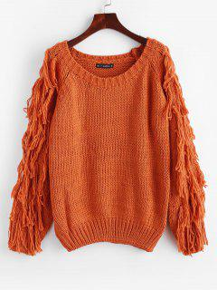 Tassels Chunky Knit Sweater - Papaya Orange