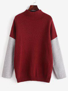 ZAFUL Mock Neck Color Block Sweater - Red Wine