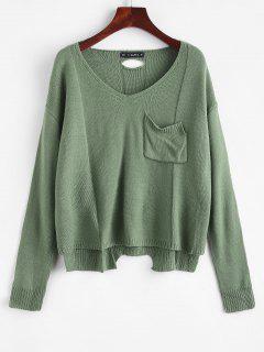 V-Ausschnitt Hoch Niedriger Pullover - Erbsengrün