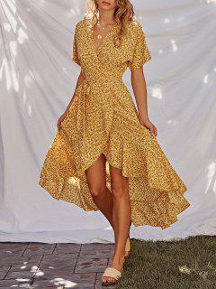 Ditsy Print Ruffle Wrap Dress - Galben Xl