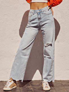 Ripped Raw Hem Straight Leg Grunge Jeans - Blue S