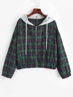 Flannel Plaid Tartan Zip Up Combo Jacket - Deep Green M