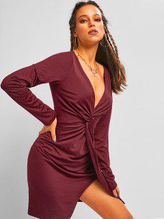 ZAFUL Plunge Front Twist Mini Night Out Dress - Deep Red L