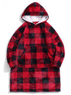 ZAFUL Plaid Pattern Fluffy Long Blanket Hoodie - Red Xs