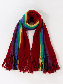 Rainbow Color Stripe Knitted Fringe Scarf - Red Wine