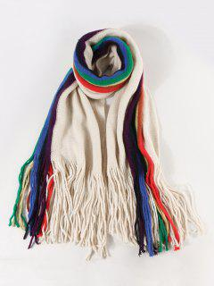 Rainbow Color Stripe Knitted Fringe Scarf - Beige