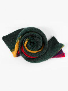 Colorblock Striped Knitted Scarf - Multi-a