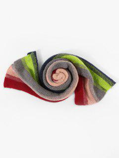 Colorblock Striped Knitted Scarf - Multi-b