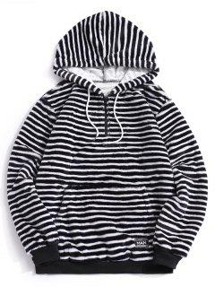 Quarter Zip Striped Faux Fur Fluffy Hoodie - Black Xl