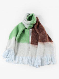 Winter Faux Cashmere Colorblock Fringe Scarf - Yellow Green