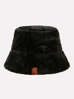 フェイクファーレザーラベルバケット帽子 - 黒