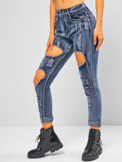 Distressed Ripped Mid Waist Skinny Jeans - Light Blue M