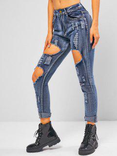 Distressed Ripped Mid Waist Skinny Jeans - Light Blue L