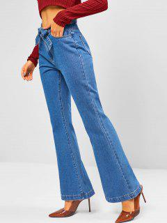 Medium Wash Belted High Waisted Flare Jeans - Blue L