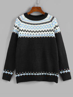 ZAFUL Geo Raglan Sleeve Jumper Sweater - Black S