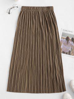 Pleated A Line Pull On Midi Skirt - Coffee