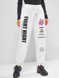 ZAFUL Drawstring Graphic Jogger Pants - White L