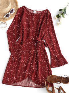 Vestido Recto De Tulipán Con Nudo Y Lunares - Rojo S