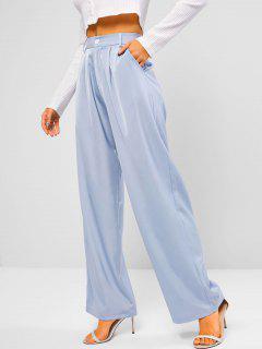 Zipper Fly Pocket Wide Leg Pants - Light Blue S