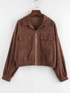 ZAFUL Corduroy Pocket Drop Shoulder Zipper Jacket - Deep Brown S