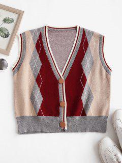 V Neck Button Up Argyle Cardigan Vest - Deep Red