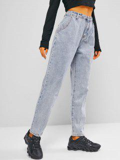 Zipper Fly Pocket Mom Jeans - Light Blue S