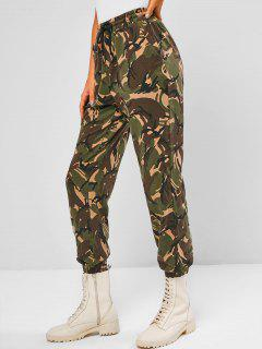 Camouflage Pocket Drawstring Pants - Deep Green L