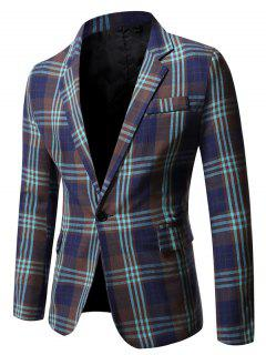Single Button Plaid Pattern Blazer - Midnight Blue M