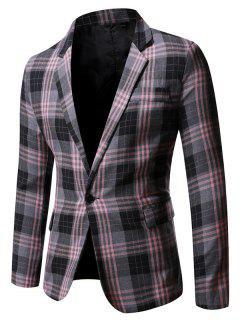 Single Button Plaid Pattern Blazer - Gray L