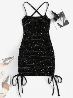ZAFUL Metallic Star Velvet Lace Up Cinched Dress - Black M