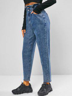 Frayed Hem Tapered Paperbag Jeans - Jeans Blue L