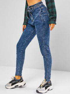 Frayed Tie Waist Skinny Jeans - Ocean Blue M