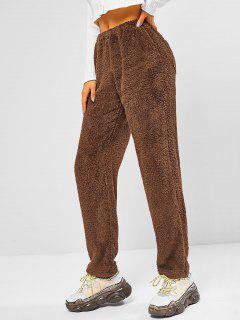 ZAFUL High Rise Fluffy Teddy Pants - Brown Bear Xl