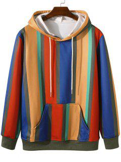 Colorful Striped Front Pocket Fleece Lined Hoodie - Bright Yellow 2xl