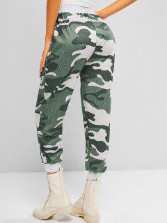 ZAFUL Slant Pockets Camouflage Jogger Sweatpants - Light Green M