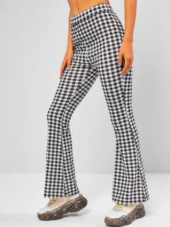 ZAFUL High Rise Plaid Bell Bottom Pants - Black S