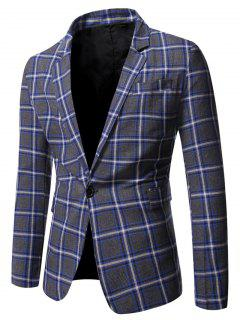 Blazer A Quadretti Con Bottone Singolo E Spacco - Blu Mirtillo 2xl