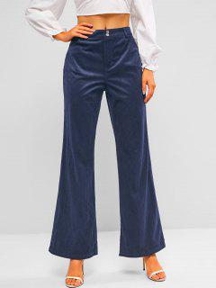 ZAFUL High Rise Corduroy Bell Bottom Pants - Deep Blue S