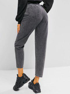 High Rise Pocket Zip Fly Mom Jeans - Gray L