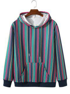 Fleece Lined Colorful Striped Hoody - Lapis Blue L