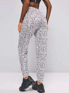 Drawstring Leopard Jogger Sweatpants - White Xl