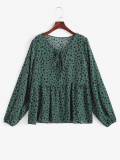 Tie Collar Spotted Print Blouse - Deep Green L