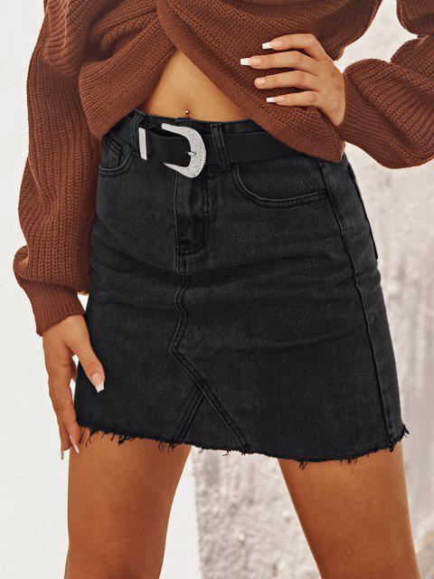 latest Raw Hem Fitted Mini Denim Skirt - BLACK M Mobile