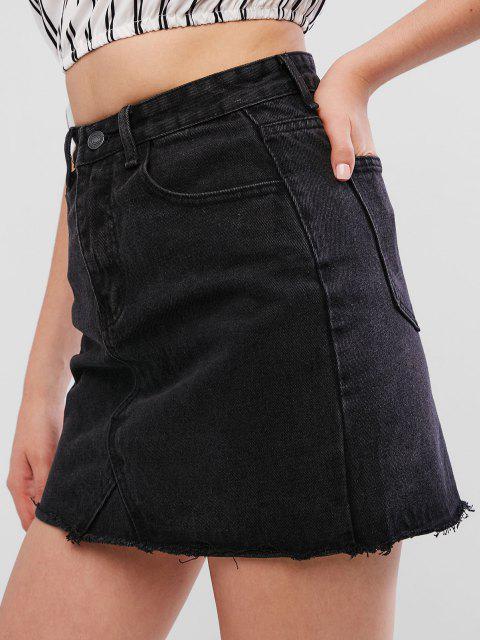 buy Raw Hem Fitted Mini Denim Skirt - BLACK XL Mobile