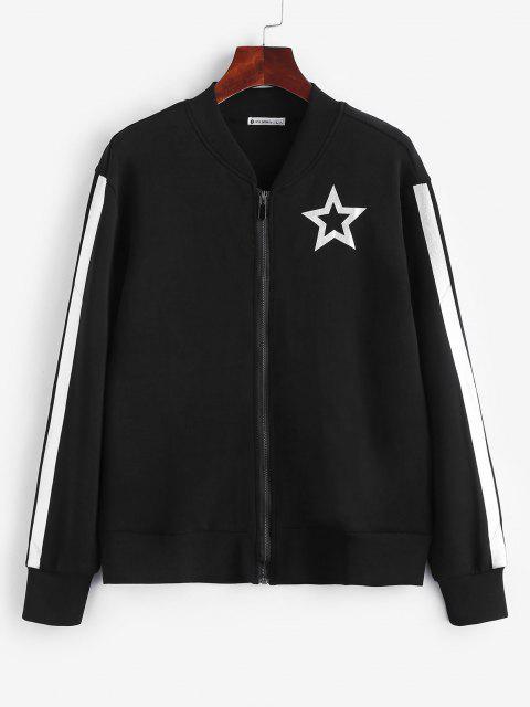 womens ZAFUL Star Print Zipper Jacket - BLACK S Mobile