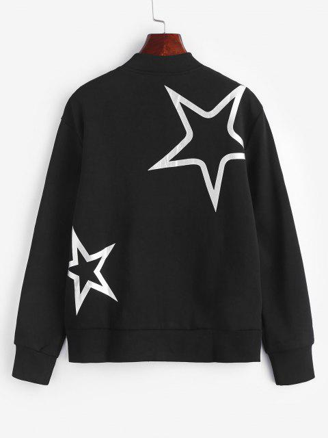 affordable ZAFUL Star Print Zipper Jacket - BLACK L Mobile